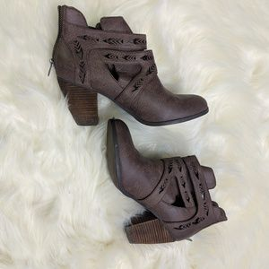 Not Rated brown/gray laser cut booties